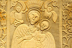 Exterior bas reliefs on the traditional Greek Orthodox church, Mykonos, Cyclades Islands, Greece.
