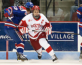 Scott Wilson (UML - 23), Wade Megan (BU - 18) - The visiting University of Massachusetts Lowell River Hawks defeated the Boston University Terriers 3-0 on Friday, February 22, 2013, at Agganis Arena in Boston, Massachusetts.