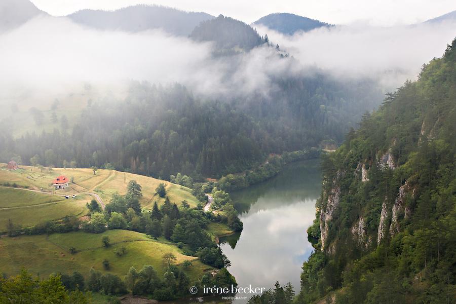 """Spajici lake view from the dam """"Lazici"""" in the morning, Tara (mountain) Serbia."""