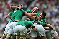 Paul O'Connell and Peter O'Mahony of Ireland compete at a maul. QBE International match between England and Ireland on September 5, 2015 at Twickenham Stadium in London, England. Photo by: Patrick Khachfe / Onside Images