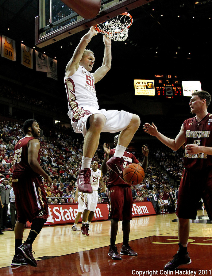 TALLAHASSEE, FL /1/22/11-FSU-BC MBB11 CH-Florida State's Jon Kreft dunks on Boston College during first half action Saturday at the Donald L. Tucker Center in Tallahassee...COLIN HACKLEY PHOTO