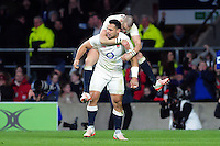Ben Te'o of England celebrates his second half try with team-mate Mike Brown. RBS Six Nations match between England and France on February 4, 2017 at Twickenham Stadium in London, England. Photo by: Patrick Khachfe / Onside Images