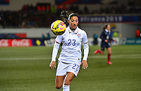 Lorient, France. - Sunday, February 8, 2015:  Christen Press (23) of the USWNT. France defeated the USWNT 2-0 during an international friendly at the Stade du Moustoir.