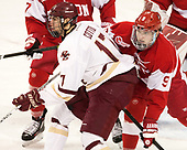 David Cotton (BC - 17), Kieffer Bellows (BU - 9) - The visiting Boston University Terriers defeated the Boston College Eagles 3-0 on Monday, January 16, 2017, at Kelley Rink in Conte Forum in Chestnut Hill, Massachusetts.