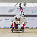 9 January 2016: Hiroatsu Takahashi, competing for Japan, pushes off for his first run start of the BMW IBSF World Cup Skeleton race at the Olympic Sports Track in Lake Placid, New York, USA. Takahashi ended the day with a combined 2-run time of 1:51.14 and a 15th place overall finish. Mandatory Credit: Ed Wolfstein Photo *** RAW (NEF) Image File Available ***