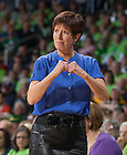Mar 29, 2014; Muffet McGraw signals to her players in the regional semifinal game against Oklahoma State. Notre Dame won 89-72. <br /> <br /> Photo by Matt Cashore