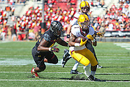 College Park, MD - October 15, 2016: Minnesota Golden Gophers running back Rodney Smith (1) runs past a Maryland Terrapins defender during game between Minnesota and Maryland at  Capital One Field at Maryland Stadium in College Park, MD.  (Photo by Elliott Brown/Media Images International)