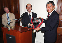 Will Chang of DC United and Umberto Gandini organization manager of AC Milan at a reception for AC Milan at DAR Constitution Hall in Washington DC on May 24 2010.