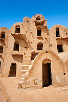The traditional north Sahara fortified Berber Ksar of Ez Zahra and its adobe mud ghorfas or storage rooms, near Tataouine, Tunisia