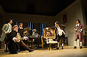 Bath, UK. 09.07.2012. THE SCHOOL FOR SCANDAL opens the Theatre Royal Bath's summer season of new in-house productions, overseen by leading guest director, Jamie Lloyd. Picture shows: Greg Barnett (Careless), Ian McNiece (Sir Oliver Surface), Timothy Speyer (Moses),  Stuart Ellis (Gentleman), Nigel Harman (Charles Surface), Matthew Seadon-Young (Trip).  Photo credit: Jane Hobson