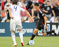 Pablo Hernandez #21 of D.C. United moves towards Omar Gonzalez #4 of the Los Angeles Galaxy during an MLS match at RFK Stadium on July 18 2010, in Washington D.C. Galaxy won 2-1.