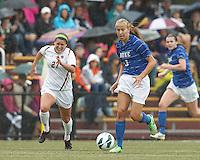 Duke University midfielder Rebecca Quinn (3) on the attack. Boston College (white) defeated Duke University (blue/white), 4-1, at Newton Campus Field, on October 6, 2013.