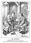 """The Anniversary. """"What did you say?"""" """"I was only wishing you many happy returns, mein Fuehrer."""" [On May 10th 1940 the German armies marched triumphantly into Belgium, Holland and Luxemburg.] (Hitler and Goebbels look sad in their bunker)"""