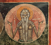 Fresco of St Onuphrius, a hermit who lived in the Egyptian desert, 1578, by Nikolla Onufri, son of Onufri, in the 13th century Church of St Mary of Blachernae or Kisha e Shen Meri Vllahernes inside Berat Castle or Kalaja e Beratit, in Berat, South-Central Albania, capital of the District of Berat and the County of Berat. Picture by Manuel Cohen