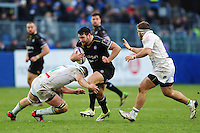 Nathan Catt of Bath Rugby goes on the attack. European Rugby Challenge Cup match, between Bath Rugby and Pau (Section Paloise) on January 21, 2017 at the Recreation Ground in Bath, England. Photo by: Patrick Khachfe / Onside Images