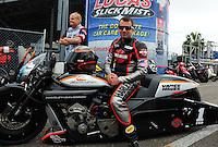 Mar. 10, 2012; Gainesville, FL, USA; NHRA pro stock motorcycle rider Eddie Krawiec during qualifying for the Gatornationals at Auto Plus Raceway at Gainesville. Mandatory Credit: Mark J. Rebilas-