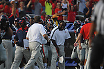 The Ole Miss bench celebrates at Vaught-Hemingway Stadium in Oxford, Miss. on Saturday, September 10, 2011. Ole Miss won 42-24.
