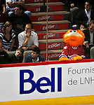24 September 2009: Montreal Canadiens' and former Expos mascot Youppi watches a game against the Boston Bruins at the Bell Centre in Montreal, Quebec, Canada. The Bruins edged out the Canadiens 2-1 in an overtime shootout of their pre-season matchup. Mandatory Credit: Ed Wolfstein Photo