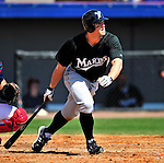 8 March 2010: Florida Marlins' outfielder Bryan Petersen in action during a Spring Training game against the Washington Nationals at Space Coast Stadium in Viera, Florida. The Marlins defeated the Nationals 12-2 in Grapefruit League action. Mandatory Credit: Ed Wolfstein Photo
