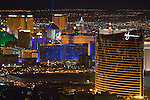Beautiful downtown Las Vegas, NV, Sin City, glows at night, seen from the top of the Stratosphere Tower.