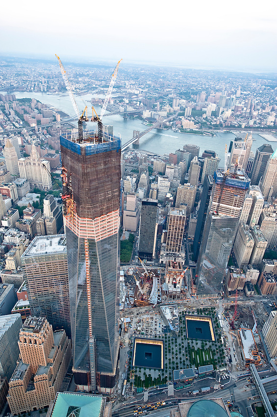 World trade center's ongoing construction. thursday, august 2, 2012