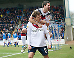 St Johnstone v Rangers...14.01.12  .Nikica Jelavic celebrates his goal with David Healy.Picture by Graeme Hart..Copyright Perthshire Picture Agency.Tel: 01738 623350  Mobile: 07990 594431