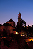 The Dormition Abbey on Jerusalem's Mount Zion shortly before dawn.