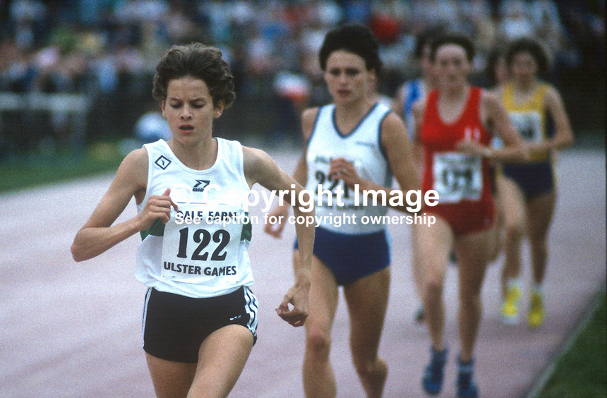 Zola Budd, the barefoot South African running sensation, competing in the 3000m event at the Dale Farm Games at the Mary Peters Track, Belfast, N Ireland, UK, 19840081ZB2..Copyright Image from Victor Patterson, 54 Dorchester Park, Belfast, UK, BT9 6RJ..Tel: +44 28 9066 1296.Mob: +44 7802 353836.Voicemail +44 20 8816 7153.Skype: victorpattersonbelfast.Email: victorpatterson@me.com.Email: victorpatterson@ireland.com (back-up)..IMPORTANT: If you wish to use this image or any other of my images please go to www.victorpatterson.com and click on the Terms & Conditions. Then contact me by email or phone with the reference number(s) of the image(s) concerned.