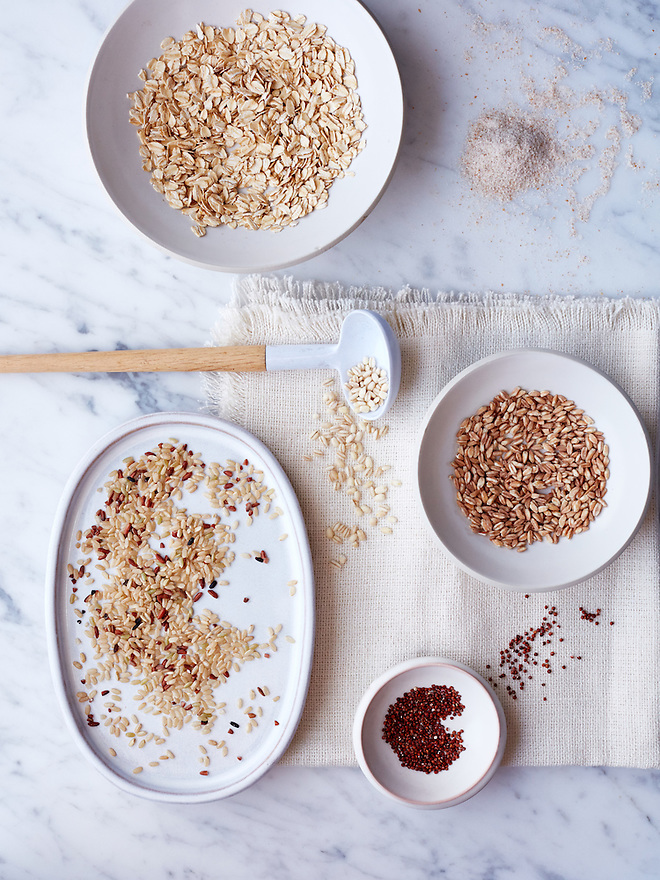 Grains: Farro, Red Quinoa, Barley, Bulgar, Oats, Rice