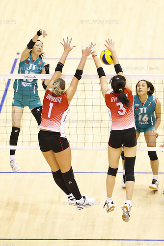 (L to R) Indre Sorokaite (Airybees), Riho Otake (Airybees), DECEMBER 12 , 2013 - Volleyball : 2013 Emperor's Cup and Empress's Cup All Japan Volleyball Championship women's match between JT Marvelous 3-2 Denso Airybees at Tokyo Metropolitan Gymnasium, Tokyo, Japan.