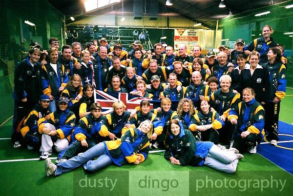 The Australian team. The Men, Women and Under 19 Boys were all championship winners, the Under 19 Girls finished 3rd to South Africa (1st) and New Zealand (2nd).<br /> 2003 Indoor Cricket World Masters and Under 19 Championships, Christchurch, New Zealand