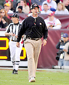 San Francisco 49ers head coach Jim Harbaugh returns to the sideline after speaking with an official in the fourth quarter of the game against the Washington Redskins at FedEx Field in Landover, Maryland on Sunday, November 6, 2011.  The 49ers won the game 19 - 11..Credit: Ron Sachs / CNP