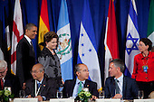 United States President Barack Obama, left, and President Dilma Rousseff of Brazil, second left, arrive for a meeting of the Open Government Partnership, a global effort to make governments better at the Waldorf-Astoria in New York, New York on Tuesday, September 20, 2011. Also pictured at the table from left: an unidentified representative of Indonesia; President Felipe Calder&oacute;n of Mexico and Jens Stoltenberg, Prime Minister of Norway..Credit: Allan Tannenbaum / Pool via CNP