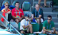 Team watson watching HEATHER WATSON (GBR) against VICTORIA AZARENKA (BLR) in the first round of the Women's Singles. Victoria Azarenka beat heather Watson 6-1 6-0...16/01/2012, 16th January 2012, 16.01.2012..The Australian Open, Melbourne Park, Melbourne,Victoria, Australia.@AMN IMAGES, Frey, Advantage Media Network, 30, Cleveland Street, London, W1T 4JD .Tel - +44 208 947 0100..email - mfrey@advantagemedianet.com..www.amnimages.photoshelter.com.