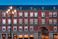 Street lamp in the Plasa Mayor, Madrid, Spain
