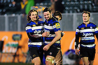 Max Clark and Elliott Stooke of Bath Rugby. Aviva Premiership match, between Bath Rugby and Bristol Rugby on November 18, 2016 at the Recreation Ground in Bath, England. Photo by: Patrick Khachfe / Onside Images