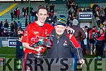 Fossa Captain Domnhall O'Sullivan with Pat Sweeney, Fossa former  Chairman and Founder Member after winning the  Castleisland Mart Junior Club Football Championship Final Replay Beale V Fossa at Austin Stack Park on Sunday