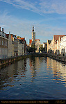 Canal Scene: Spinolarei at Sunrise, Poortersloge Burgher's Lodge in the distance, Bruges, Brugge, Belgium