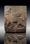 Picture & image of a Neo-Hittite orthostat describing the legend of Gilgamesh from Karkamis,, Turkey. Ancora Archaeological Museum. A three headed Sphinx which is a winged lion with a human heas and a bird of prey's head on the end of its tail 4