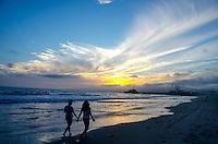 Santa Monica Beach amid the sunset on Wednesday, July 24, 2013