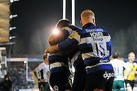 Chris Cook of Bath Rugby is congratulated on his try by team-mates. Aviva Premiership match, between Bath Rugby and Northampton Saints on February 10, 2017 at the Recreation Ground in Bath, England. Photo by: Patrick Khachfe / Onside Images