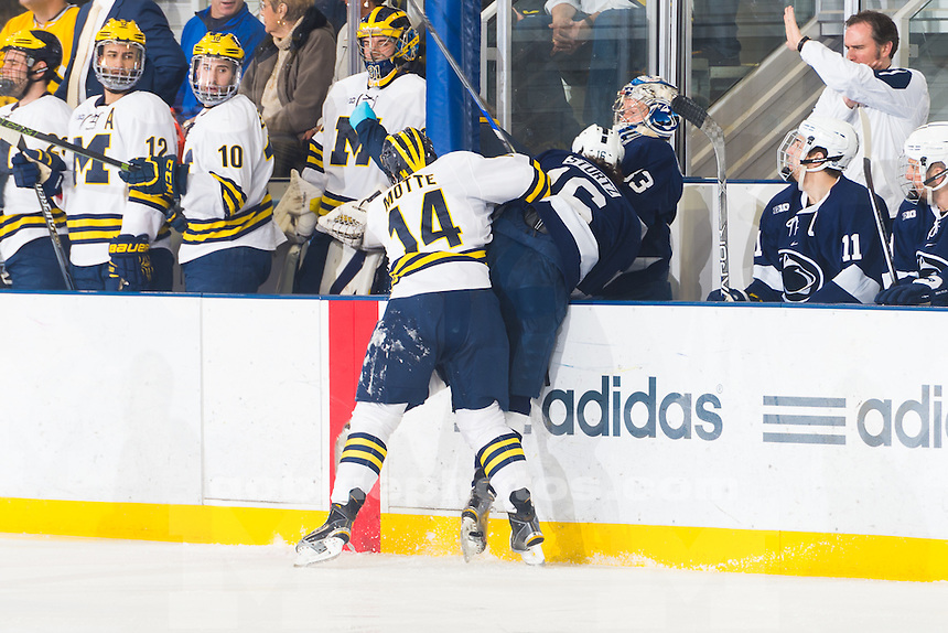 The University of Michigan Ice Hockey team,6-1,senior night victory over Penn St. at Yost Ice Arena in Ann Arbor, MI on March 12, 2016.