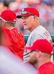 23 May 2015: Philadelphia Phillies Manager Ryne Sandberg watches play from the dugout during a game against the Washington Nationals at Nationals Park in Washington, DC. The Phillies defeated the Nationals 8-1 in the second game of their 3-game weekend series. Mandatory Credit: Ed Wolfstein Photo *** RAW (NEF) Image File Available ***