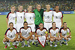 21 August 2008: The United States starters pose for a team photo before the game. Front row (l to r): Carli Lloyd (USA), Shannon Boxx (USA), Christie Rampone (USA), Lindsay Tarpley (USA), Heather Mitts (USA). Back row (l to r): Lori Chalupny (USA), Heather O'Reilly (USA), Amy Rodriguez (USA), Hope Solo (USA), Kate Markgraf (USA), Angela Hucles (USA). The United States Women's National Team defeated Brazil's Women's National Team 1-0 after extra time at the Worker's Stadium in Beijing, China in the Gold Medal match in the Women's Olympic Football tournament.