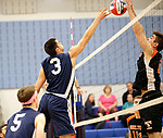 Oxford, CT- 21 April 2017-042117CM09-  Oxford's  Thomas Mattutini (3) and Shelton's Matt  Wojslaw go up for the ball during their volleyball matchup in Oxford on Friday.       Christopher Massa Republican-American
