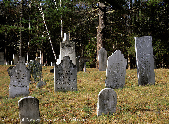 Headstones at Warren Village Cemetery in Warren, New Hampshire USA.