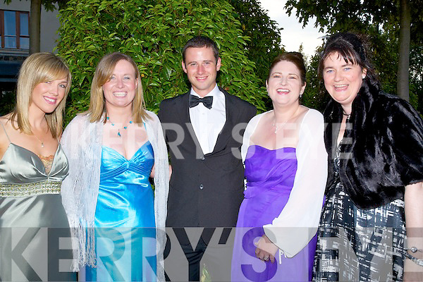 ENJOYING: Deirdre Neligan (Blennerville), Andrea O'Donoghue, Alan Roycroft and Elaine Boland (Castlegregory) and Lisa Barrett ( Killorglin)having the time of their life at the Rose of Tralee Rose Ball ion The Festival Dome, on Friday evening.