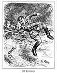 The Boomerang. (a boomerang of Terror comes back to hit Hitler as he runs away from the destruction he has caused)