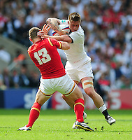 Teimana Harrison of England looks to fend Scott Williams of Wales. Old Mutual Wealth Cup International match between England and Wales on May 29, 2016 at Twickenham Stadium in London, England. Photo by: Patrick Khachfe / Onside Images