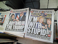Headlines of the New York tabloid newspapers on Wednesday, January 20, 2016 report on Republican presidential candidate Donald Trump being endorsed by former Republican Vice-Presidential candidate Sarah Palin.  (© Richard B. Levine)
